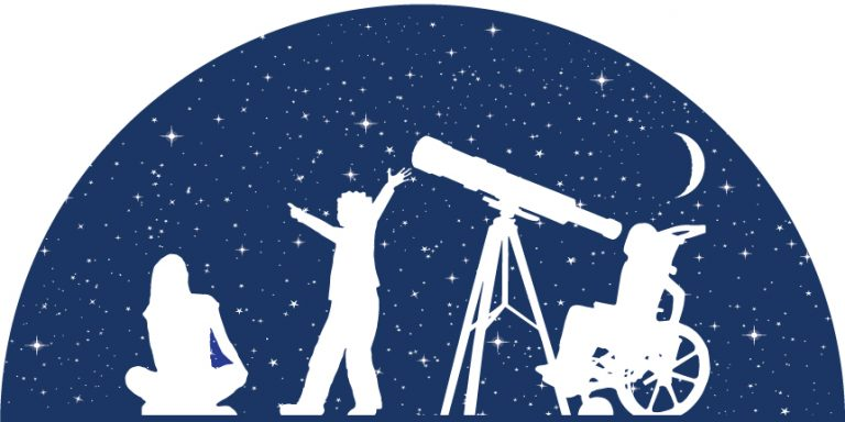 PLANETS image icon with an adult seated, a child pointing to the stars, and a child in a wheelchair looking through a telescope at the starts