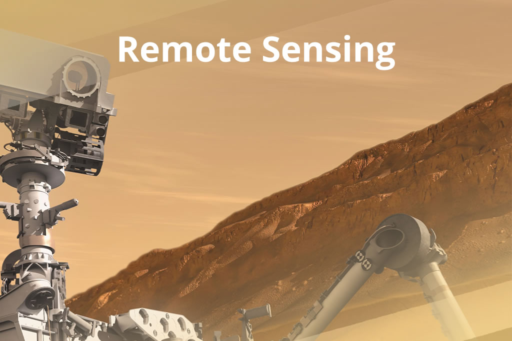 Image of a remote sensing device on a planetary surface