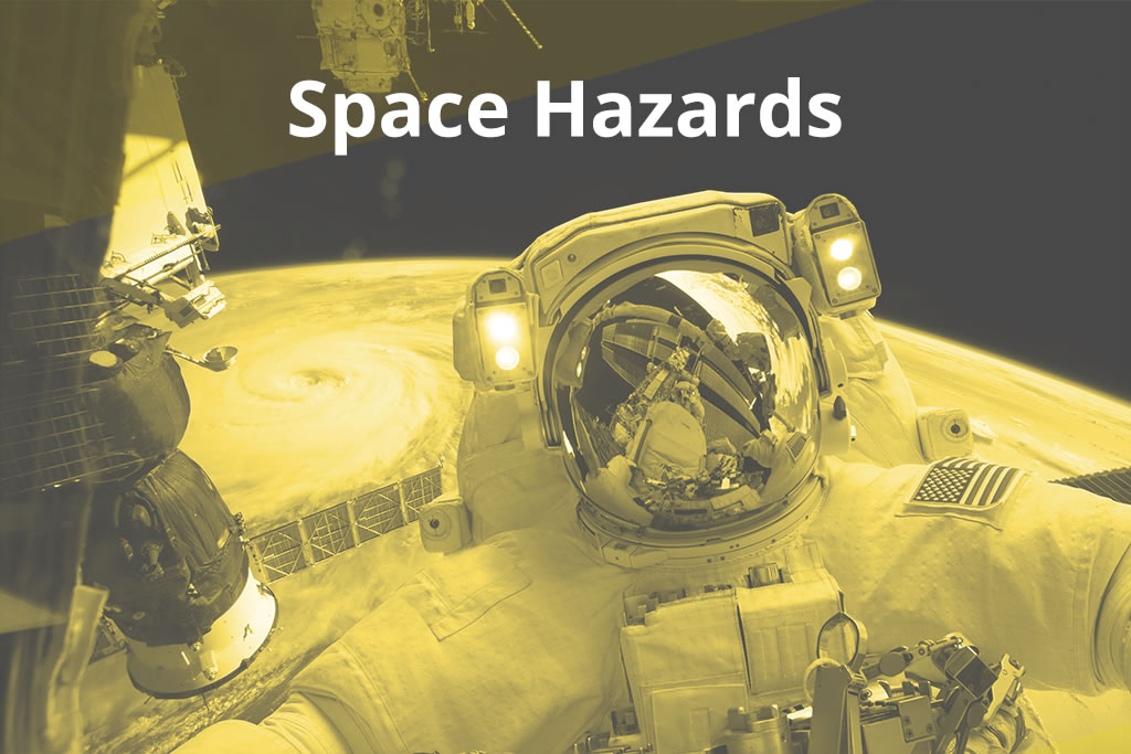 Space Hazards image with an astronaut on a space walk over a planet