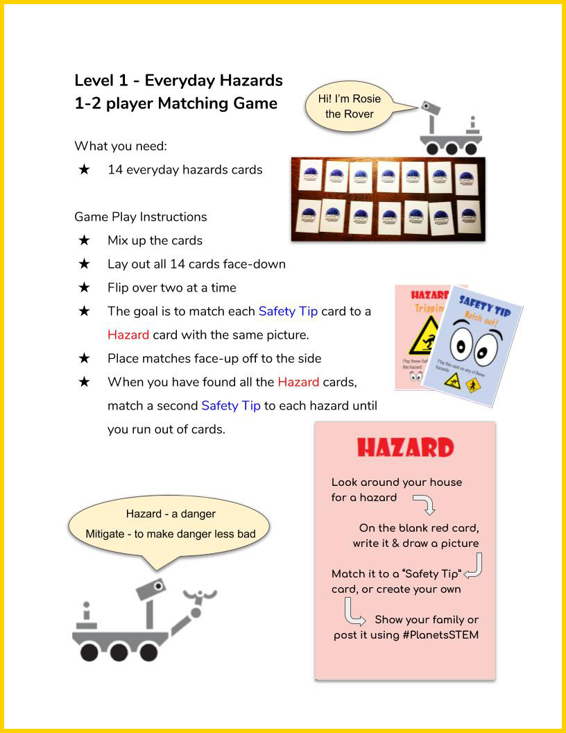 Space Hazards Game Instructions page 2