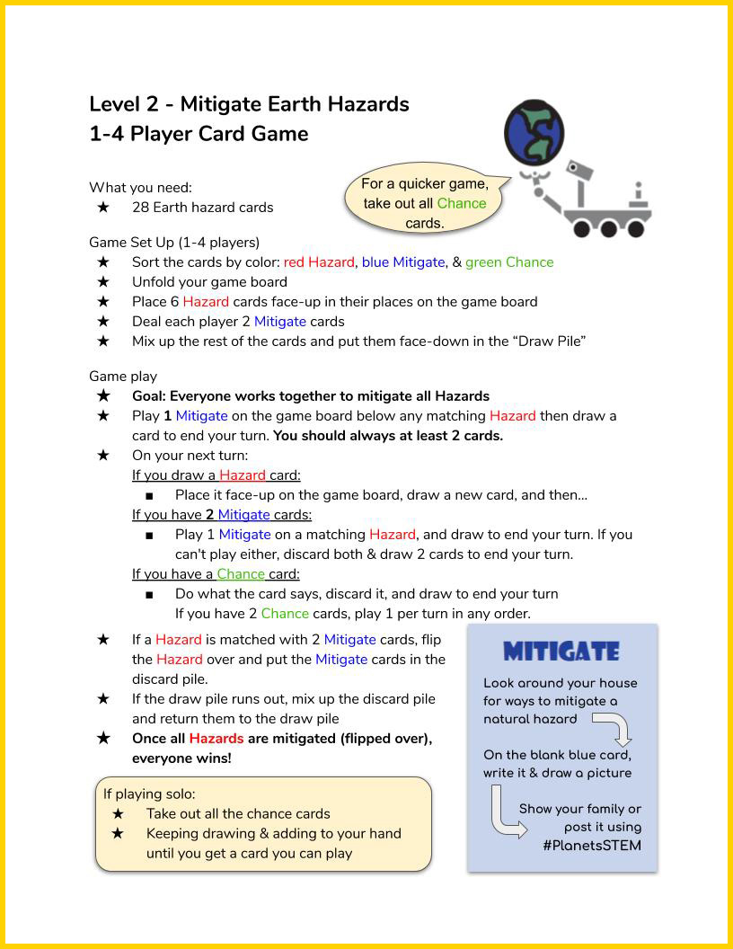 Space Hazards Game Instructions page 3