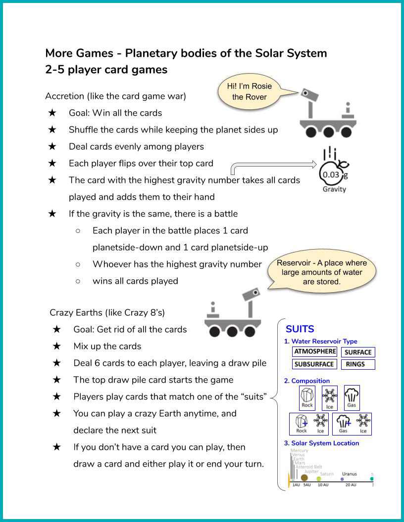 Water in Extreme Environments Game Instructions page 4