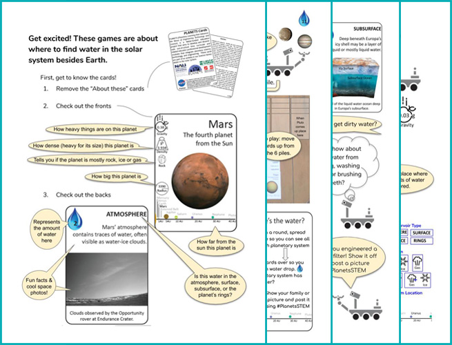 Water in Extreme Environments PLANETS @ Home cards teaser of all 4 cards
